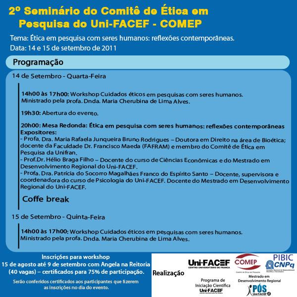 2º Seminário do Comitê de Ética em Pesquisa do Uni-FACEF – COMEP