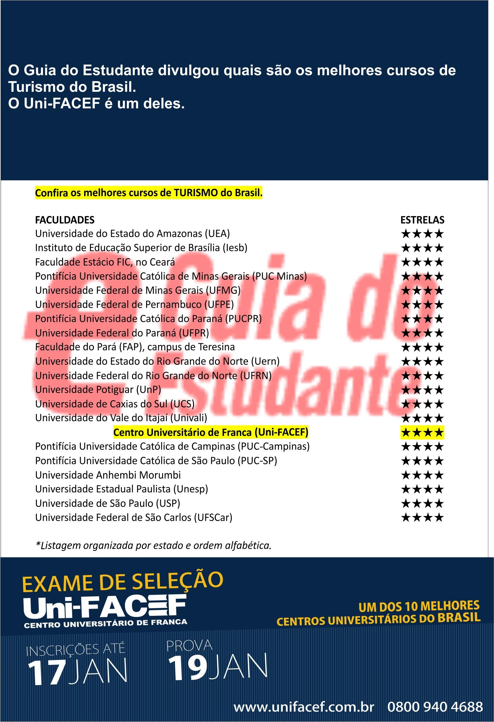 Curso de Turismo do Uni-FACEF é um dos melhores do Brasil, afirma Guia do Estudante Abril