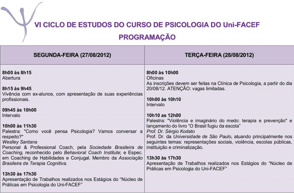 Curso de Psicologia do Uni-FACEF comemorará o Dia do Psicólogo com o VI Ciclo de Estudos