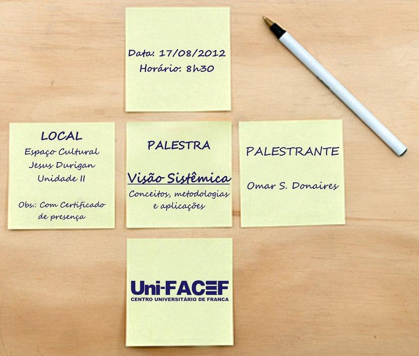 """Palestra sobre """"Visão Sistêmica"""" no Uni-FACEF"""