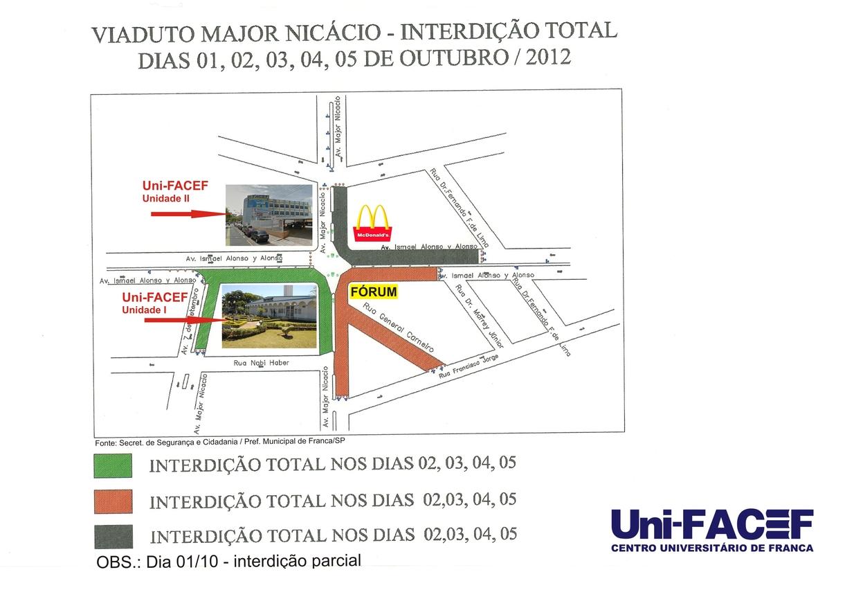 Viaduto da Major Nicácio - interdição total - 1º a 05/10/2012