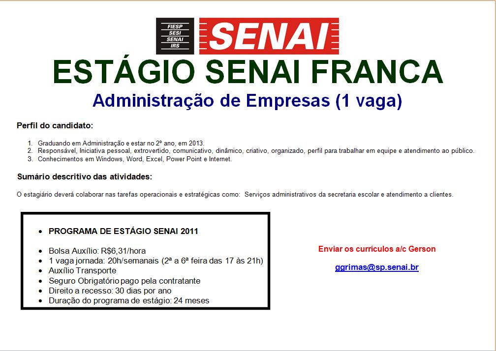 Oportunidade de estágio em administração no SENAI Franca