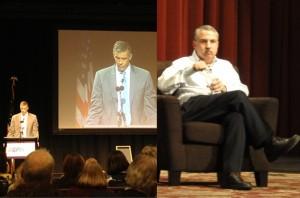 A palestra no AERA 2013 do Secretário de Educação dos Estados Unidos Arne Duncan (à esquerda) e o colunista do New York Times, Thomas L. Friedman, em entrevista à EWA (à direita)