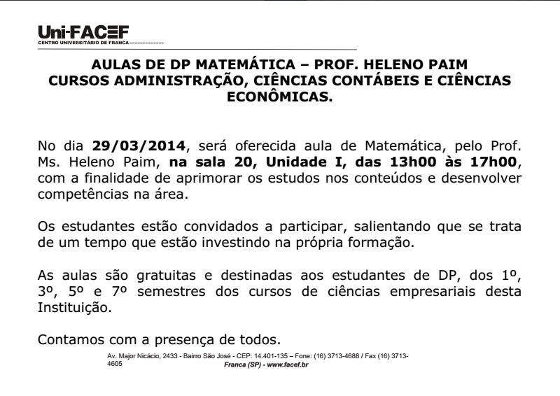 ATENÇÃO: Aula especial de matemática do Prof. Heleno Paim