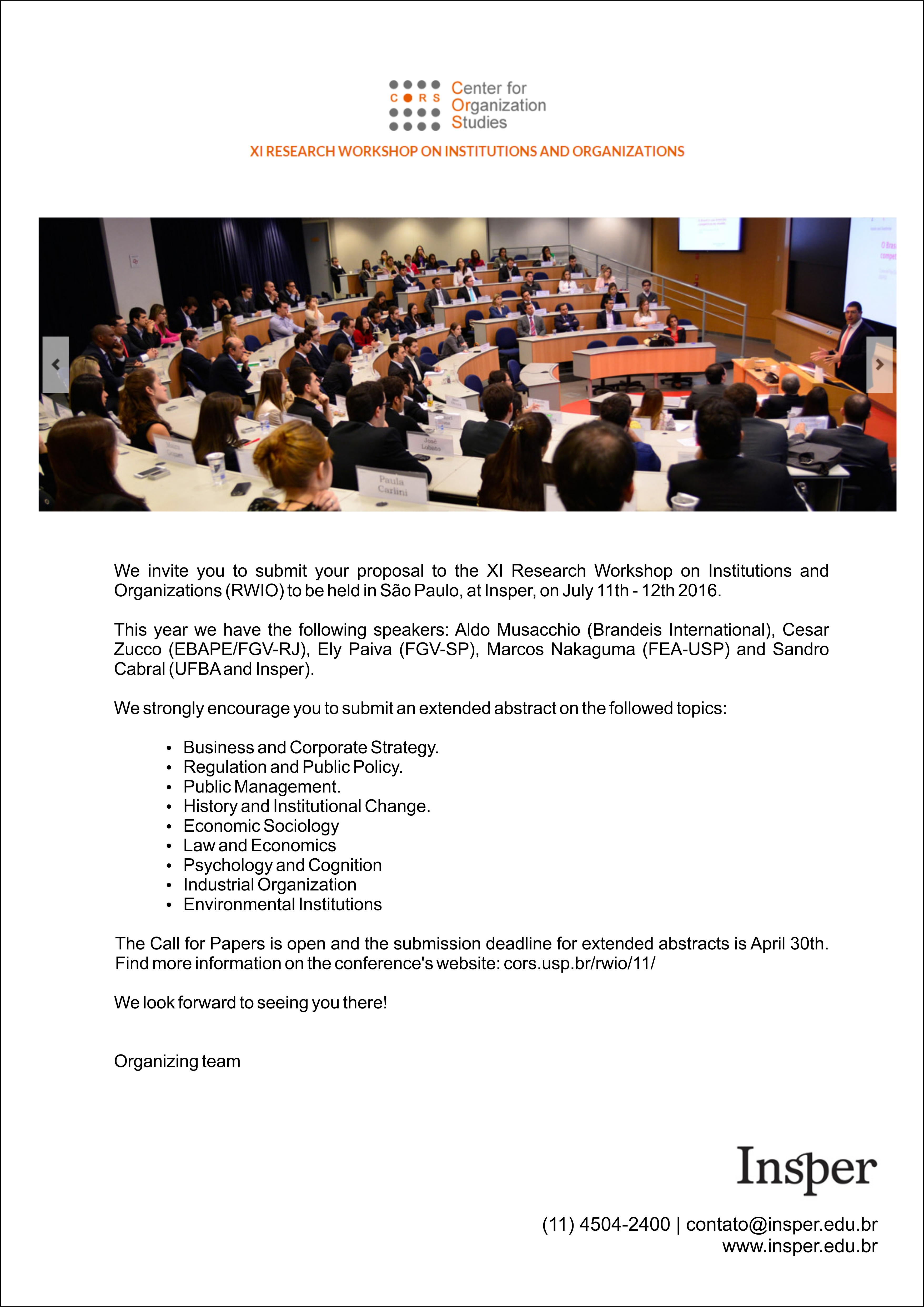 XI Research Workshop on Institutions and Organizations – RWIO