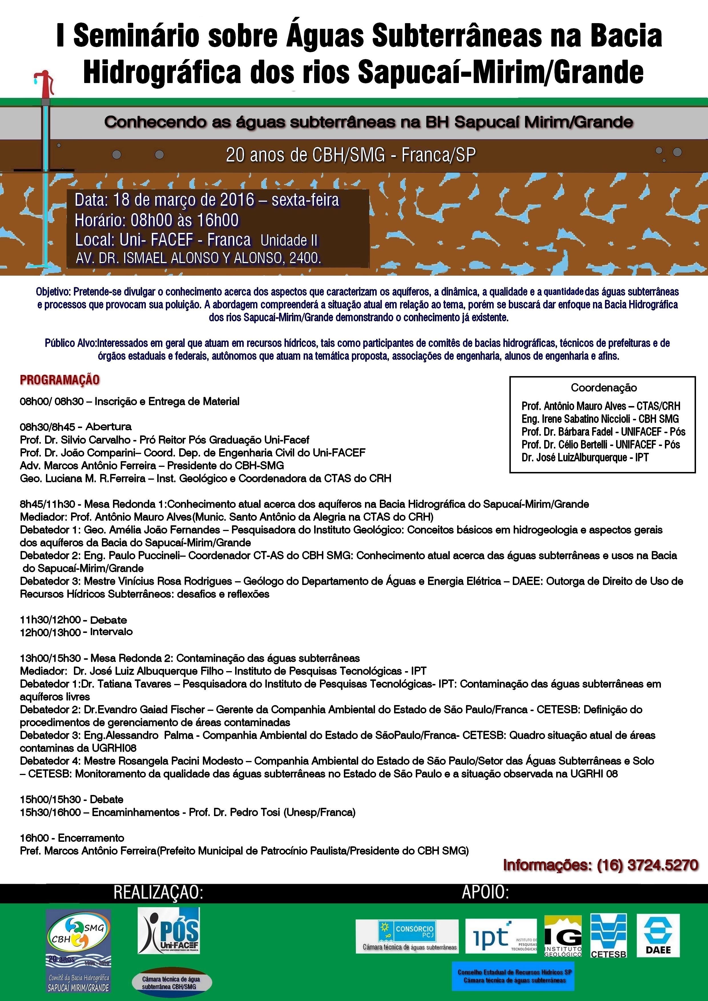 I Seminário sobre águas subterrâneas na bacia hidrográfica dos rios Sapucaí-Mirim/Grande