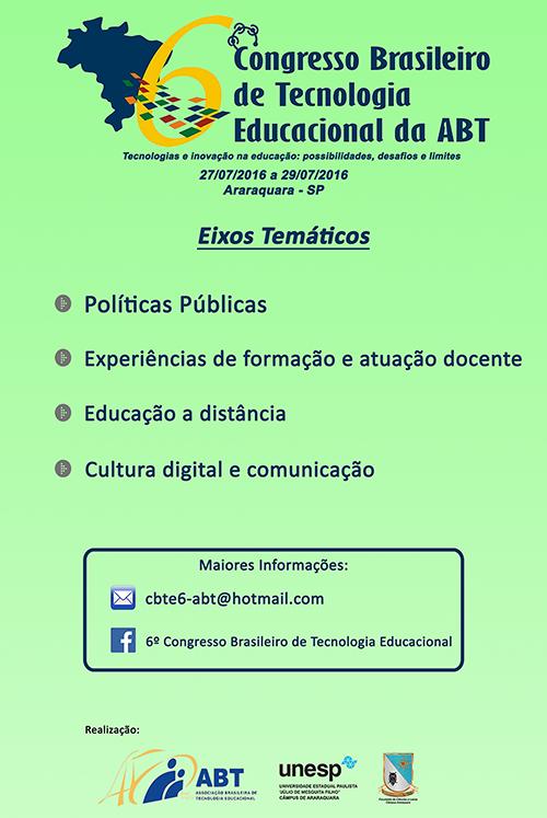 6º Congresso Brasileiro de Tecnologia Educacional. Participe.