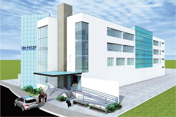 Projeto de como ficará a terceira unidade do Centro Universitário de Franca, na Alonso y Alonso. Foto de divulgação.