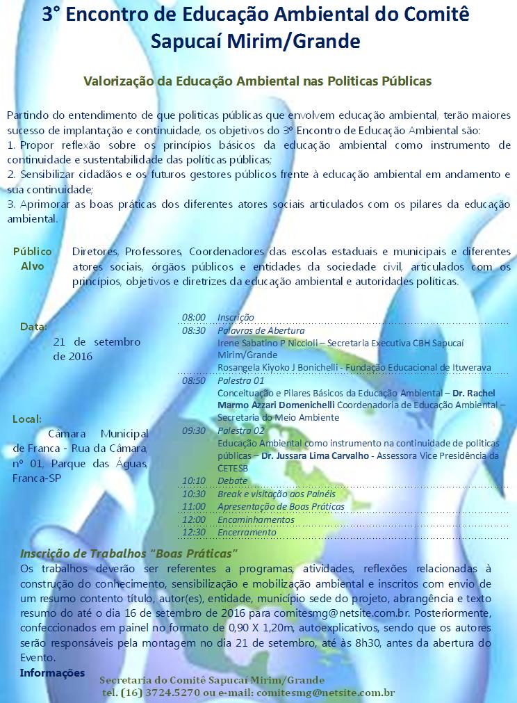 Evento sobre políticas públicas e Educação Ambiental