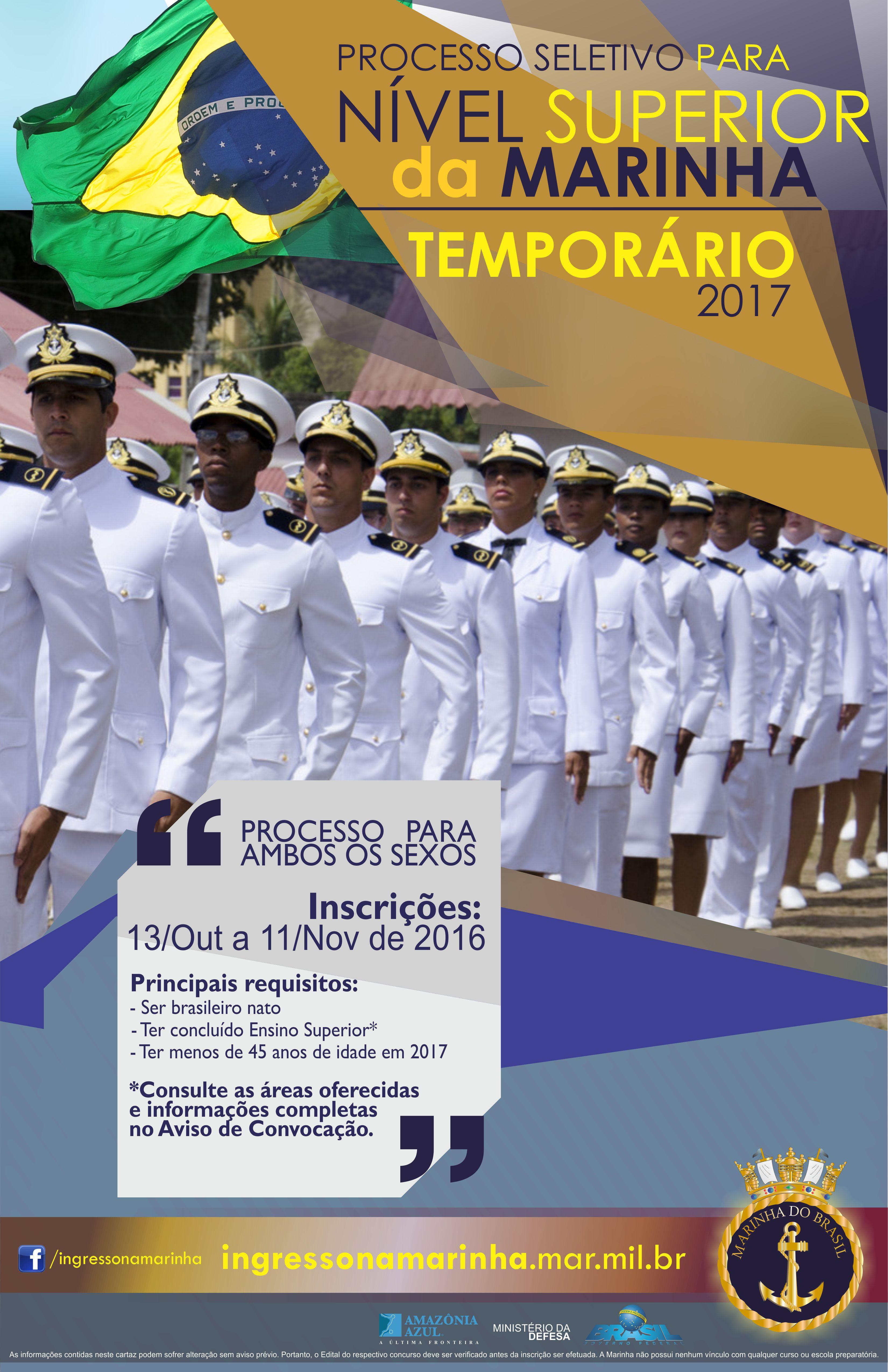 Marinha abre seleção para 450 vagas de nível superior