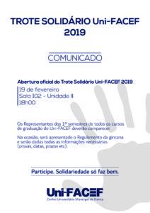 Reunião para abertura oficial do TROTE SOLIDÁRIO Uni-FACEF 2019