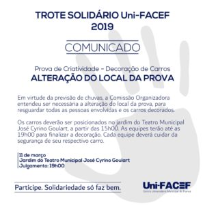 COMUNICADO – Prova do carro