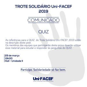Referências para prova do Quiz, do Trote Solidário Uni-FACEF 2019