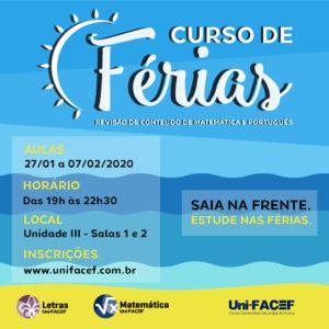 Inscrições abertas para o curso de Férias Uni-FACEF