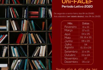 Veja os horários de funcionamento da Biblioteca do Uni-FACEF