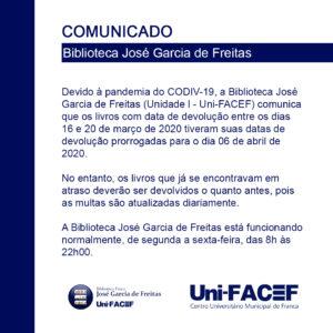 Biblioteca física do Uni-FACEF divulga informação sobre devolução de livros