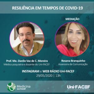 Live sobre resiliência em tempos de Covid-19 com psiquiatra da Medicina Uni-FACEF