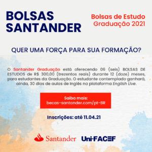 Programa de bolsas do Santander contempla estudantes do Uni-FACEF – inscrições abertas